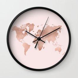 Rose Gold World Map Wall Clock