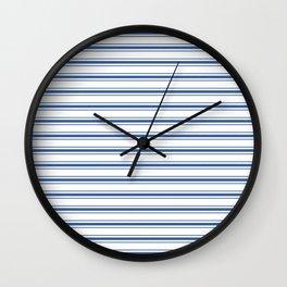 Mattress Ticking Wide Horizontal Stripe in Dark Blue and White Wall Clock