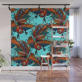 rooster ink turquoise Wall Mural