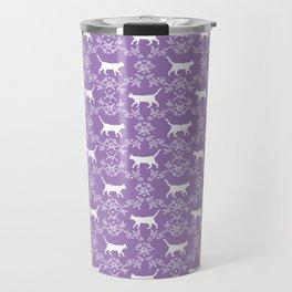 Cat florals floral silhouette pet portrait cat art cat lady purple and white Travel Mug