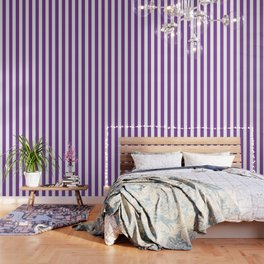 Cadmium violet - solid color - white vertical lines pattern Wallpaper