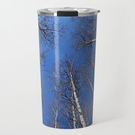 Nature: The trees trunk with  blue sky background. Travel Mug