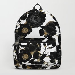 Modern Elegant Black White and Gold Floral Pattern Backpack
