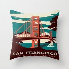 vintage poster san francisco Throw Pillow