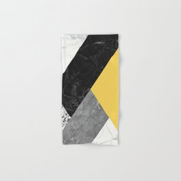 Black and White Marbles and Pantone Primrose Yellow Color Hand & Bath Towel