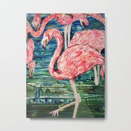 Flamingo Party Pink and Tropical Metal Print