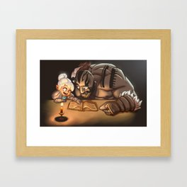 Grog attempts to learn to read Framed Art Print