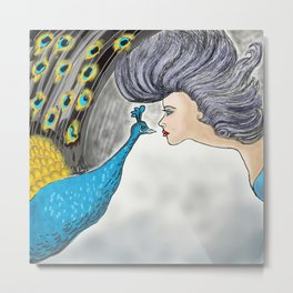 Peacock and Lady Metal Print