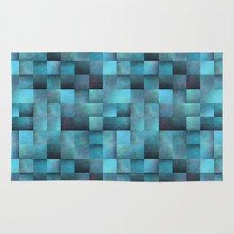Tiled Pattern Shades Of Blue Rug