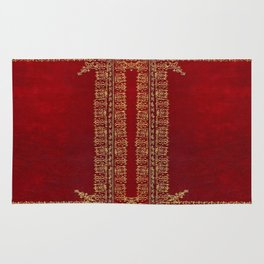 Red and Gilded Gold Book Rug
