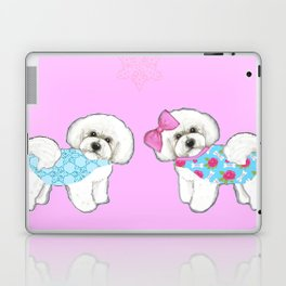 Bichon Frise Dogs in love- wearing pink and blue coats Laptop & iPad Skin