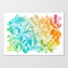 Colorful Geometric Pattern Saturated Rainbow Pattern Design (Red Pink Orange Yellow Green Blue) Canvas Print