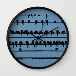 birds on a wire feeling blue Wall Clock