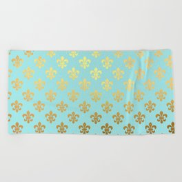 Royal gold ornaments on aqua turquoise background Beach Towel