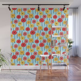 Bright Sunny Mod Poppy Flower Pattern Wall Mural