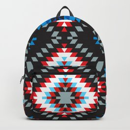 Colorful patchwork mosaic oriental kilim rug with traditional folk geometric ornament. Tribal style Backpack
