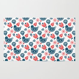 Scandinavian Bird & Flowers Pattern Rug
