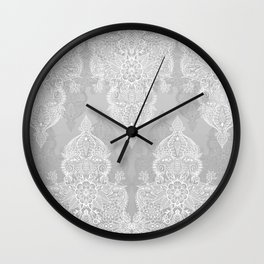 Lace & Shadows 2 - Monochrome Moroccan doodle Wall Clock