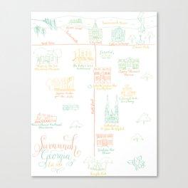 Savannah, Georgia Illustrated Calligraphy Map Canvas Print