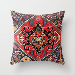 Qashqa'i Antique Fars Persian Bag Face Print Throw Pillow