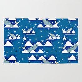 Sea unicorn - Narwhal blue Rug