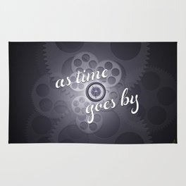 """""""As Time Goes By"""" - black and white vector artwork Rug"""
