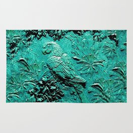TURQUOISE TROPICAL MACAW PARROT JUNGLE ART Rug