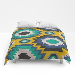 Ethnic in blue, green and yellow Comforters