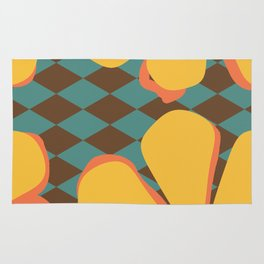 Yellow and Orange Flowers on Brown and Teal Harlequin Rug