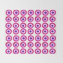 Evil Eye Amulet Talisman in Pink Throw Blanket