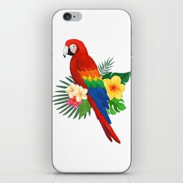 Tropical Macaw Floral Watercolor iPhone Skin