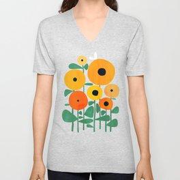 Sunflower and Bee Unisex V-Neck