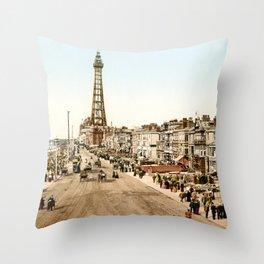 The Promenade at Blackpool, Lancashire, England 1898 Throw Pillow
