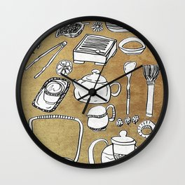 Chinese Tea Doodle 1 Wall Clock