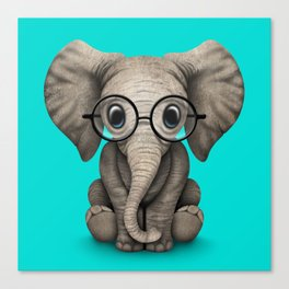 Cute Baby Elephant Calf with Reading Glasses on Blue Canvas Print