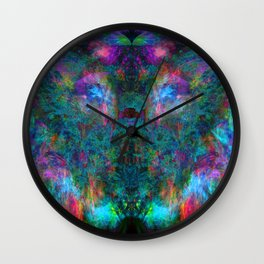 Butterfly Block Face (Cyan) (abstract, psychedelic, visionary) Wall Clock