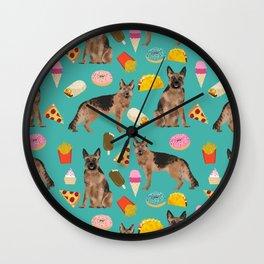 German Shepherd junk food pizza donuts ice cream burrito funny dog art pet portrait Wall Clock