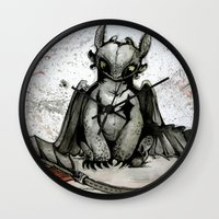 toothless Wall Clocks featuring Toothless by artbyteesa
