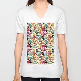 Colored  Easter bunny seamless pattern Unisex V-Neck
