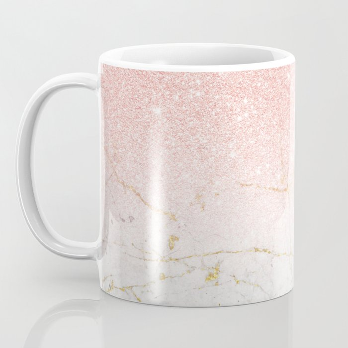 Rose Gold Glitter and gold white Marble Coffee Mug