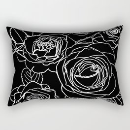 Feminine and Romantic Rose Pattern Line Work Illustration on Black Rectangular Pillow