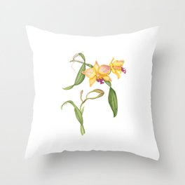 Flowering yellow cattleya orchid plant Throw Pillow