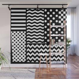 Mixed Patterns (Horizontal Stripes/Polka Dots/Wavy Stripes/Chevron/Checker) Wall Mural