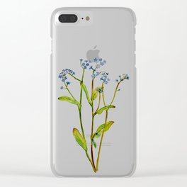 Forget-me-not flowers watercolor art Clear iPhone Case