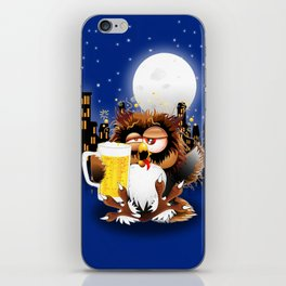 Drunk Owl with Beer Funny Character iPhone Skin