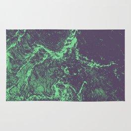 Alien marble glitch - green stone Rug