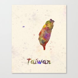 Taiwan in watercolor Canvas Print