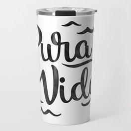 Pura Vida Costa Rica Waves in Black Travel Mug