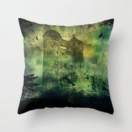 Dark castle behind trees Throw Pillow