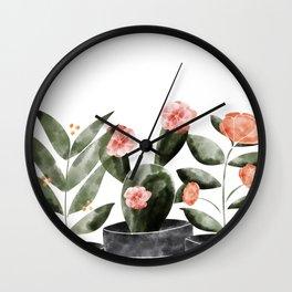 Watercolor Cactus Floral Wall Clock